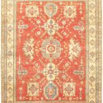 Hand-knotted Finest Gazni Orange Wool Rug 6'4″ x 8'7″