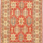 Hand-knotted Finest Gazni Orange Wool Rug 6'4″ x 10'1″