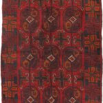 Hand-knotted Royal Balouch Dark Copper, Navy Wool Rug 3'1″ x 6'0″