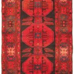 Hand-knotted Persian Vintage Red Wool Rug 3'3″ x 9'4″