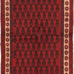 Hand-knotted Bahor Light Camel, Red Wool Rug 3'4″ x 6'0″