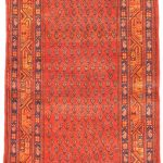 Hand-knotted Persian Vogue Camel, Red Wool Rug 3'4″ x 10'2″