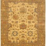Hand-knotted Royal Ushak Cream, Dark Gold Wool Rug 8'3″ x 10'0″