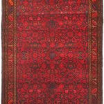 Hand-knotted Persian Vogue Navy, Red Wool Rug 3'6″ x 9'10""