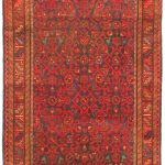 Hand-knotted Persian Vogue Light Navy, Red Wool Rug 3'7″ x 11'1″