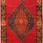 Hand-knotted Persian Vogue Navy, Red Wool Rug 5'1″ x 9'1″