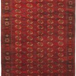 Hand-knotted Shiravan Bokhara Light Burgundy Wool Rug 7'2″ x 13'4″