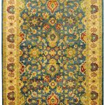 Handmade Antiquities ECGSAT015A Beige, Blue Wool Rug 4'0″ x 6'0″