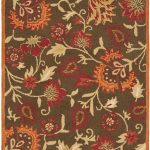 Hand hooked Blossom ECGSBL0M861A Brown, Multi Wool Rug 3'0″ x 5'0″
