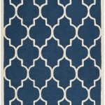 Handmade Cambridge ECGSCA0M134G Ivory, Navy Wool Rug 5'0″ x 8'0″