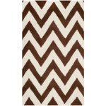 Handmade Cambridge ECGSCA0M139H Dark Brown, Ivory Wool Rug 5'0″ x 8'0″