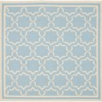 Hand woven Dhurries ECGSDH0U545B Ivory, Light Blue Wool Dhurrie 6'0″ x 6'0″ (1) (1)