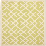 Hand woven Dhurries ECGSDH0U552A Ivory, Light Green Wool Dhurrie 8'0″ x 8'0″ (1) (1)