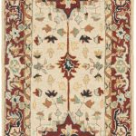 Hand hooked Chelsea ECGSHK0709A Ivory, Red Wool Rug 2'6″ x 12'0″
