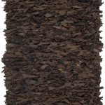 Hand-knotted Leather Shag ECGSLS0G421D Dark Brown Leather Shag 2'3″ x 4'0″